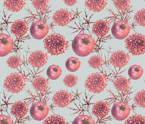 Dalie-Granatapfel_himmelgrau fabric by melanio on Spoonflower - custom fabric
