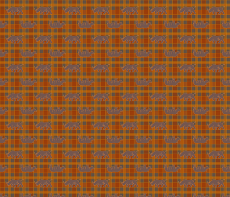 rhino orange gray plaid fabric by heretherebemonsters on Spoonflower - custom fabric