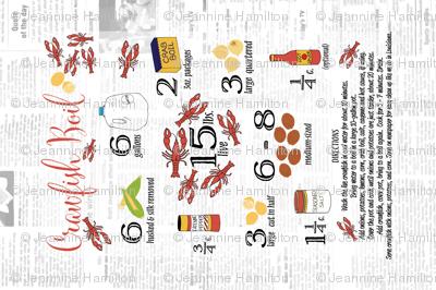 Crawfish Boil Recipe Tea Towel