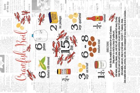 Crawfish Boil Recipe Tea Towel fabric by liveoaksouldesigns on Spoonflower - custom fabric