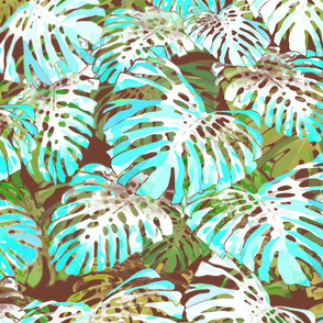 Monstera Jungle II Turquoise on Cacao 150