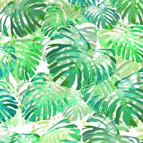 Monstera Jungle II Olive Green on White 150
