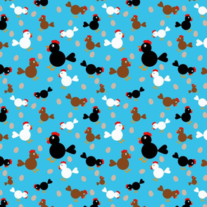 Three Colour Chickens on Blue