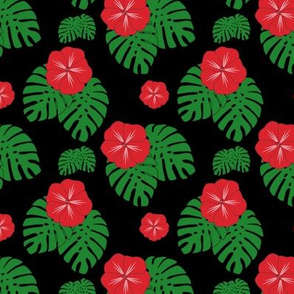 Red Hibiscus with Monstera Leaves