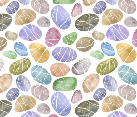 Watercolour River Pebbles fabric by floramoon on Spoonflower - custom fabric