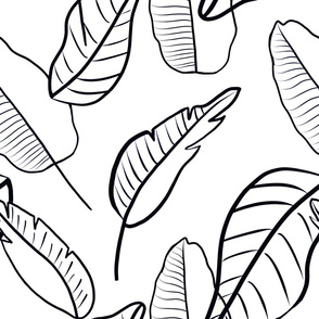 Black and white banana leaf palms - large scale