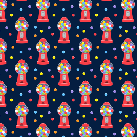 (small scale) gumball machine - multi on navy C18BS fabric by littlearrowdesign on Spoonflower - custom fabric