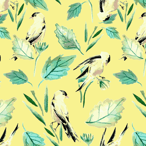 Goldfinches on Yellow fabric by katie_hayes on Spoonflower - custom fabric