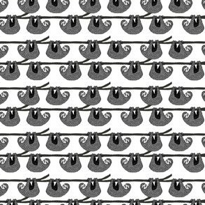 MINI - sloth // black and white cute sloths in a tree fabric