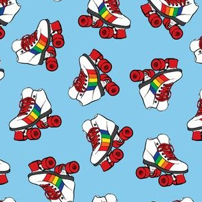 (small scale) roller skates - rainbow on blue C18BS