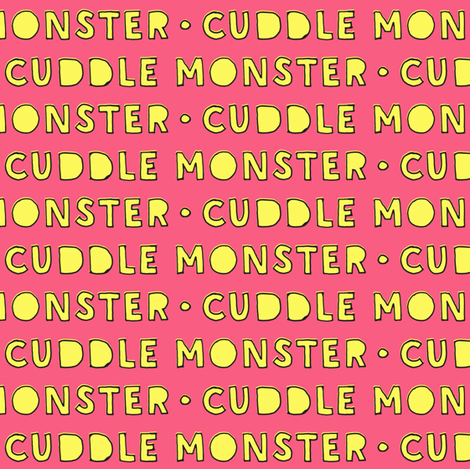 cuddle monster || yellow and pink C18BS fabric by littlearrowdesign on Spoonflower - custom fabric