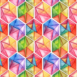 Groovy Diamond Shapes Rainbow on White