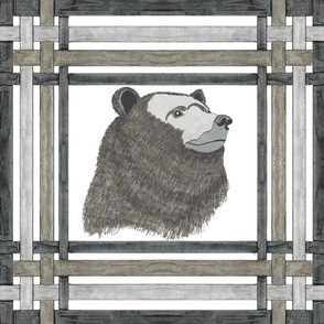 Black, Gray and Taupe Bear in Plaid