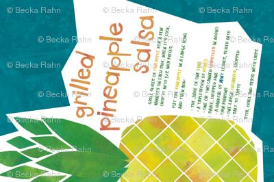 Pineapple Salsa Recipe Tea Towel