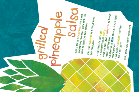 Pineapple Salsa Recipe Tea Towel fabric by beckarahn on Spoonflower - custom fabric