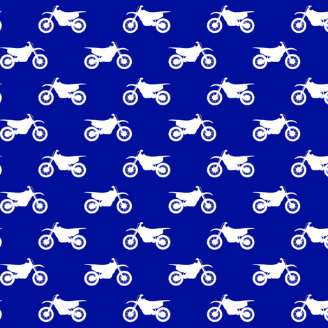 (small scale) motocross bike on royal blue C18BS fabric by littlearrowdesign on Spoonflower - custom fabric