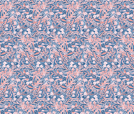 Tropical Daydream blue coral small scale fabric by mjmstudio on Spoonflower - custom fabric