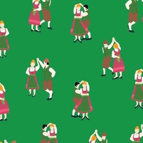 Oktoberfest Dancing Couples Green