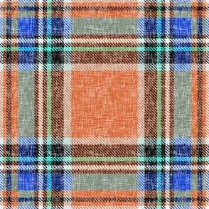 Ruby orange + blue Stewart plaid linen-weave by Su_G
