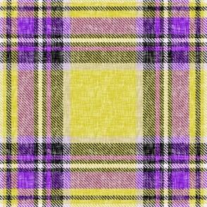 Gold + purple Stewart plaid linen-weave by Su_G_©SuSchaefer