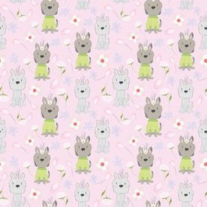 Adorable little puppies and flowers on  pink