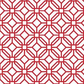 Octagon trellis - red on white - v3