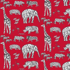red zoo animal ikat nursery