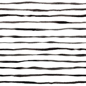 Simple Hand Painted Stripe Pattern in Black and White - horizontal
