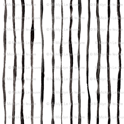 Simple Hand Painted Stripe Pattern in Black and White - vertical