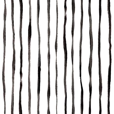 Simple Hand Painted Stripe Pattern in Black and White - vertical fabric by micklyn on Spoonflower - custom fabric