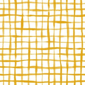 Loose Weave Hand Painted Check Pattern in Mustard Yellow and White