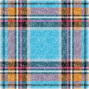 Blue, orange + mauve Stewart plaid linen-weave by Su_G