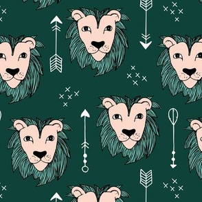 Cool winter lions and arrows safari night forest green