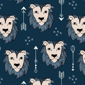 Cool winter lions and arrows safari night forest blue
