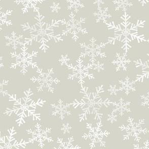 Lino Print Snowflakes | White Snowflakes on Beige / Light Warm Gray