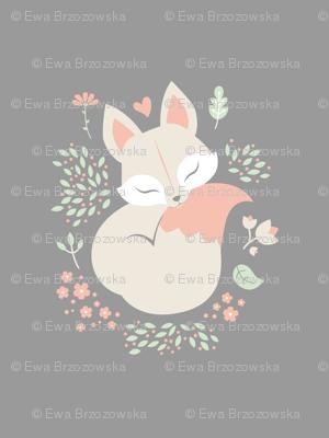 Sleeping Fox - Minky Panel - Grey