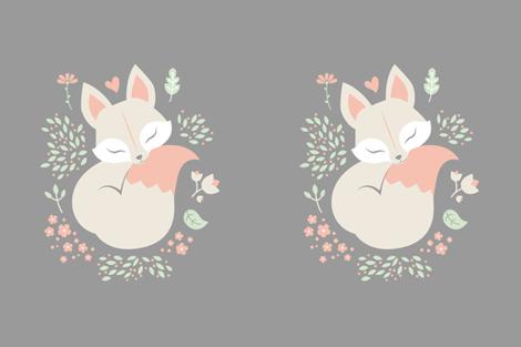 Sleeping Fox - Minky Panel - Grey fabric by ewa_brzozowska on Spoonflower - custom fabric