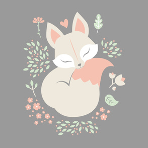 Sleeping Fox - Minky Panel - Grey