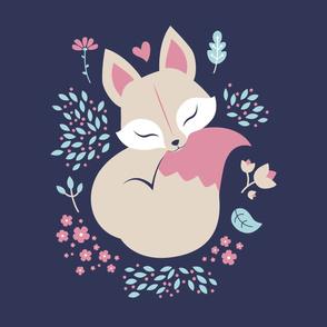 Sleeping Fox - Minky Panel - Navy