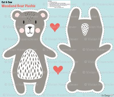 Woodland bear plushie