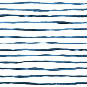 Simple Hand Painted Stripe Pattern in Indigo, Navy Blue and White - horizontal