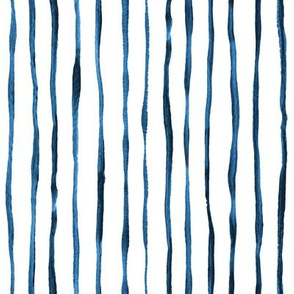 Simple Hand Painted Stripe Pattern in Indigo, Navy Blue and White - vertical