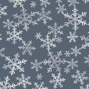 Lino Print Snowflakes | White Snowflakes on Dark Blue-Gray