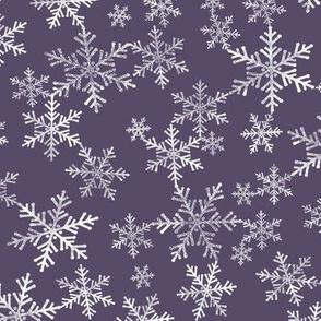 Lino Print Snowflakes | White Snowflakes on Dark Purple