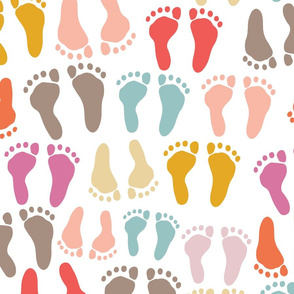 Baby Footprints - Pink Brown Orange Blue