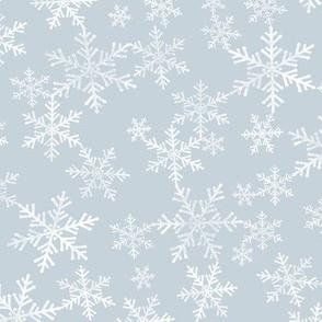 Lino Print Snowflakes | White Snowflakes on Dusty Blue