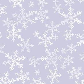 Lino Print Snowflakes | White Snowflakes on Dusty Purple