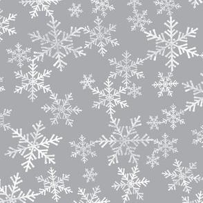 Lino Print White + Gray Christmas Snowflakes