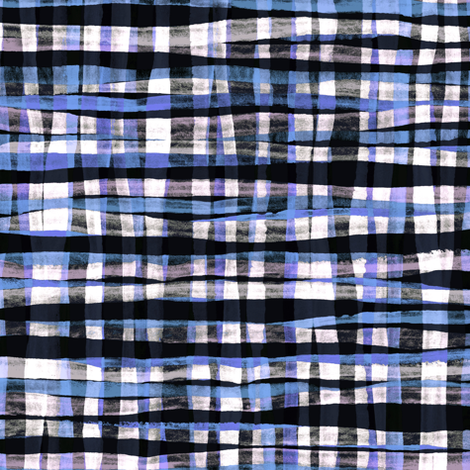Hand Painted Rustic Plaid Check in Purple, Black & White fabric by micklyn on Spoonflower - custom fabric