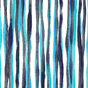 Hand Painted Rustic Strip in Aqua, Indigo and White